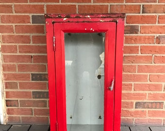 Vintage Fire Extinguisher Metal Cabinet Fire Engine Red and White Industrial Rustic