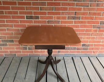 Vintage Drop Leaf Wood Side End Entryway Table Brass Claw Feet Brandt Furniture Co