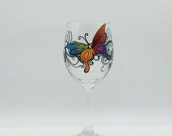 Colorful Rainbow Butterfly Hand Painted Wine Glass Red Orange Yellow Green Purple
