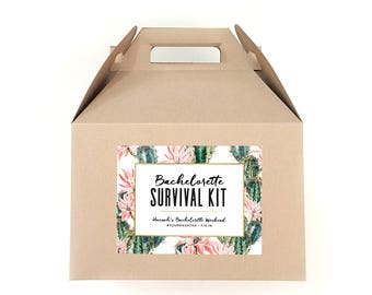 Bachelorette Party Survival Kit Labels - Hangover Survival Kit - Palm Springs Bachelorette Bag Labels - Cactus Bachelorette Favor Tags