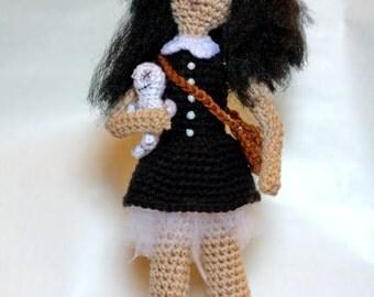Unique goth doll creepy crochet stuffed toy ready to ship gothic horror tim burton