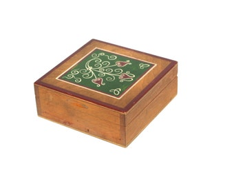 Vintage Wooden Jewelry Box, Ornament wood box, Trinket Box, Hand Tooled Handmade Box hand carved hand painted flowers Polish Folk Art 70s