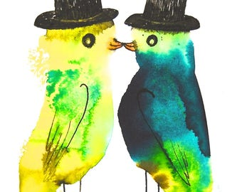 Same-sex marriage gift, gay wedding gift, original drawing, colorful animal art