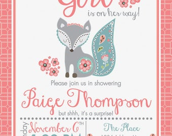Girl Fox Baby Shower Invitation PRINTABLE CUSTOM WORDING