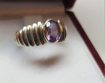 Sterling ring size 6 mark 925 promise ring Amethyst February birthstone 1ct 6mm X 8mm Cabochon Bezel set - On Clearance Now!