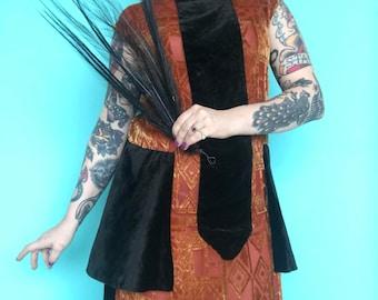 1920s Dress / 20s Burnout Velvet Dress / 1920s Color Block Devore Velvet Dress / Flapper Peplum Dress