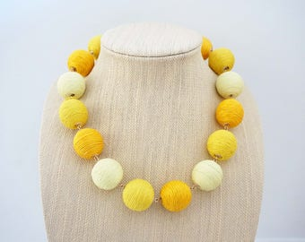 Yellow Ombre Ball Statement Necklace