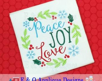 Christmas Digital Embroidery Design, Wreath Embroidery Design, Christmas Embroidery Saying, Peace Embroidery Design, Joy Embroidery Design