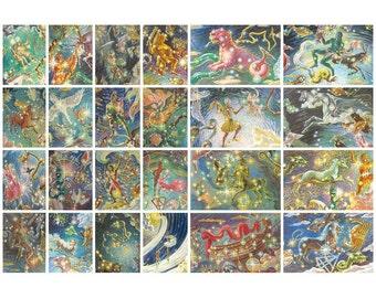Constellation, Soviet Postcards, Art, Space, Illustration, Glebova, Print, Soviet Union Vintage Postcard, USSR, Unused, 1982