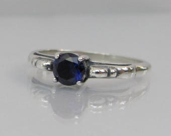 Sapphire Ring in Sterling Silver, Blue Sapphire Scroll Ring, 5mm Sapphire Gemstone, September Birthstone Ring, Lab Grown, Sapphire Jewelry