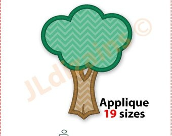 Tree machine embroidery pattern. Applique design. Machine embroidery design.