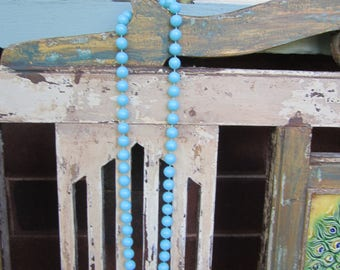 Blue Vintage Beads- Necklace - Turquoise - Plastic - 1950's