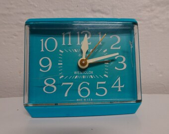Vintage Westclox Sizzler Blue Drowse Dialite Electric Alarm Clock Model 22246 - FREE SHIPPING