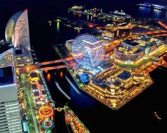 Yokohama Photography, Cosmo World, Night Photography, Japan Print