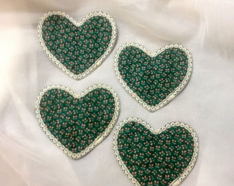 4 Quilted Heart Shaped Coasters, Green and Pink Floral Pattern with White Lace Trim, 4 3/4 x 4 1/2 inches, 50% OFF
