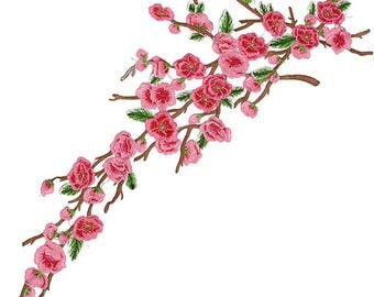 Cherry Pink Blossom Floral Long Applique Fabric Patches - More Colours