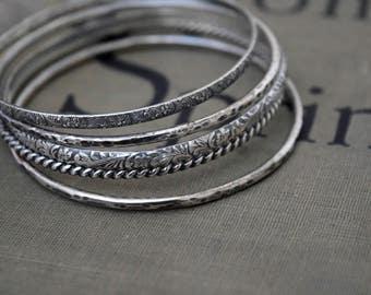 Set of Silver Bangle Bracelets Metalwork Bracelets Floral Bangle Bracelet Twist Bangle Set of Bangles Silver Bracelets