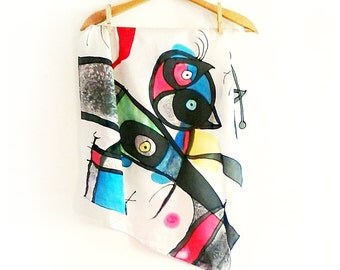 Joan Miro silk scarf hand painted. Square scarf with abstract design. Famous art scarf. Surreal art scarf. Womens christmas gift.