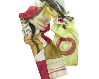 Abstract long scarf. Hand painted silk scarf. Modern scarf hand paint. Abstract design scarf. Burgundy, black, green scarf