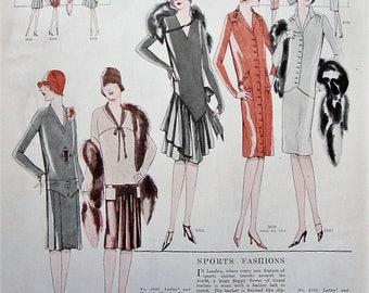 1927 Vintage Womens Fashion Print Bedroom Wall Art Boutique Decor Original McCalls Magazine Patterns L'Echo De Paris 1920s Sports Fashion
