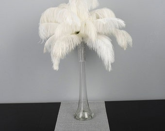 """16"""" Tall Ostrich Feather Centerpiece Kits with Round Eiffel Tower Vase"""