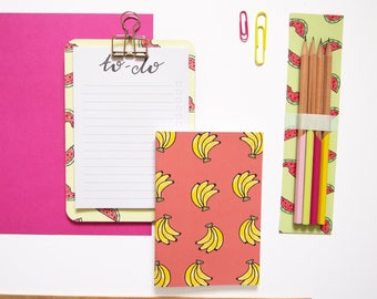 Clipboard Stationery Set / Fruity Stationery Set / Clipboard and Notebook Set / Stationery Gift Set / Gifts for Her / Back to School