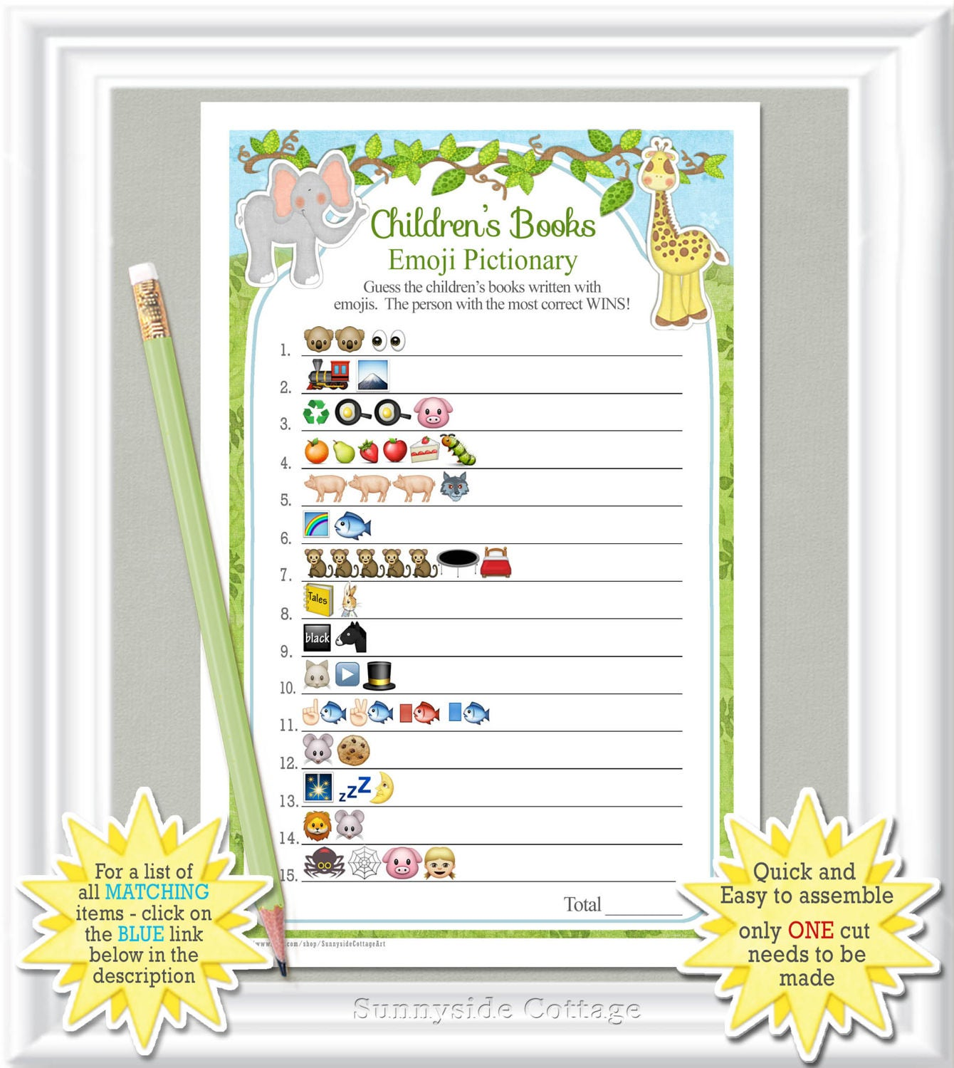 Children's Books EMOJI Pictionary Game Baby Shower Game