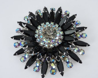 Vintage Juliana (D&E) Black AB Rhinestone Sunburst Brooch, Rhinestone Brooch, Book Piece,  Juliana Jewelry
