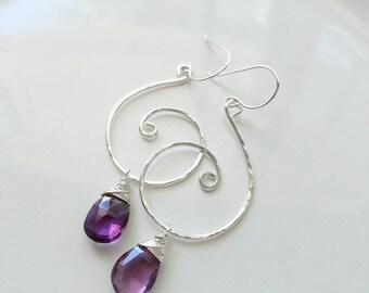 Amethyst Drop Earrings, Amethyst Birthstone Jewelry, Sterling Silver Amethyst Earrings, Silver Swirl Earrings, Amethyst Jewelry