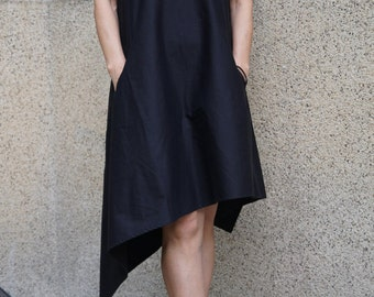 Black Kaftan/Asymmetrical Tunic/ Black Dress/Black Casual Kaftan/ Party Dress/Dress/One Shoulder Dress/F1470