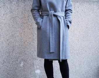 Grey Lined Coat/Cashmere Wool Coat/Winter Coat /Belted coat/XXL Coat/Masculine Coat/Symmetrical Coat/Autumn Winter Coat/Warm Coat/ F1661