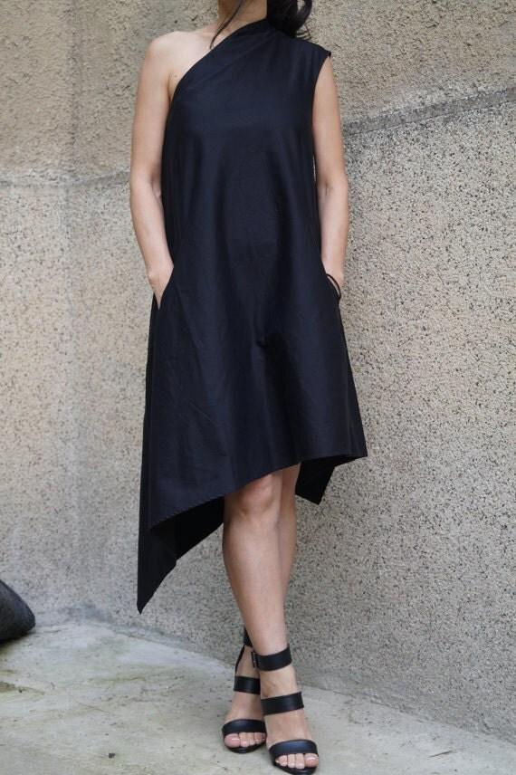 Black Kaftan/Asymmetrical Tunic/ Black Dress/Black Casual Kaftan/ Party Dress/Dress/One Shoulder Dress/F1470