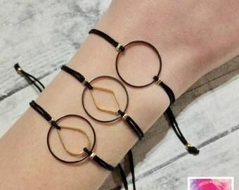 Circle charm bracelet, friendship bracelet, macrame bracelet, minimal bracelet, geometric, dainty bracelet, black, simple, cord bracelet