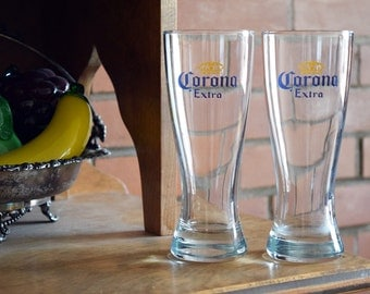 Corona Extra Glasses - Set of 2 - Vintage Alcohol Collectible - CORONA EXTRA - Beer Drinking Cups - Mexico - L1
