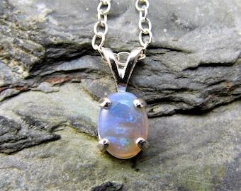 Australian Black Opal Pendant Lightning Ridge Opal Necklace Black Opal Sterling Silver