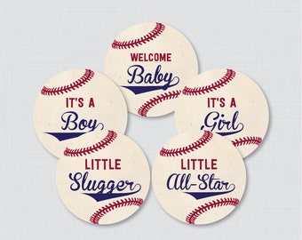 Baseball Baby Shower Cupcake Toppers - It's a Boy, It's a Girl - Instant Download - Baseball Themed Decorations - 0027
