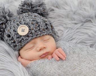 Pompon hat, pom pom hat,baby boy hat,baby girl hat,crochet hat,boy photo prop,girl photo prop,pompon bonnet,boy bonnet,girl bonnet,photo