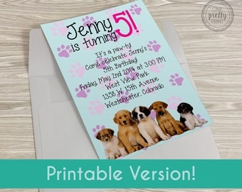 Adorable Puppy Party Birthday Printable Invitations!