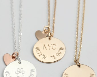 Coordinates Disks Necklace, Personalized Coordinates Disc Necklace, Customized Latitude ...