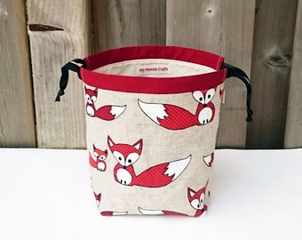 Sock Project Bag in Fox Print Linen, Knitting Bag, Knitting Tote, Sock Project Bag, two at a time - Small Socksack by My Needle Crafts