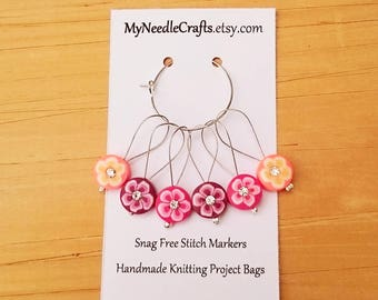 Stitch Markers, Snag Free Beaded Knitting Stitch Markers, Set of 6 Flower Beads