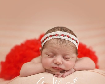 Red and White Rosebud Headband for baby or girls. Christmas, Holidays, Photo Shoot. Choose your size.