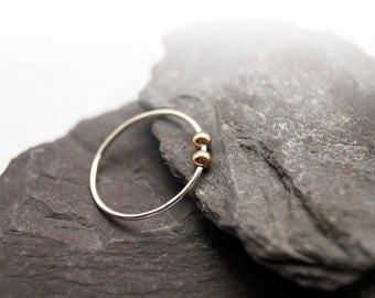 Gold Filled Smooth Beads Sterling Silver Fidget Ring ~ stacking ring, stackable, thin band, worry ring, fidget ring, spinner ring, anxiety