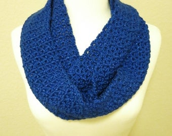 Crochet Infinity Scarf in Sparkly Blue