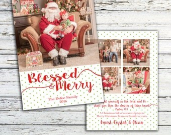 Christmas Card, Picture Christmas Card, Family Christmas Card, Merry and Blessed, Christian Christmas Card, Religious Christmas Card