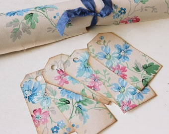 Shabby Chic Vintage Floral Gift Tags Handmade from 1940's Wall Paper, Vintage Birthday, Wedding, Anniversary