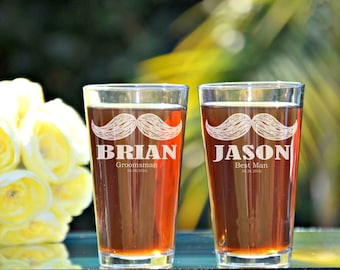 Mustache Glasses, Groomsmen Pint Glass, Personalized Pint Glasses, Wedding Party Pint Glasses, Stache, Groomsmen Gift Ideas, Pint Glass
