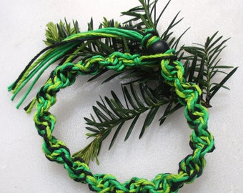 Lime Green, Green and Black, Hemp Anklet, Hemp Bracelet, Hemp Jewelry, Unisex Hemp Jewelry, Unique Hemp Jewelry, Thick Hemp Jewelry