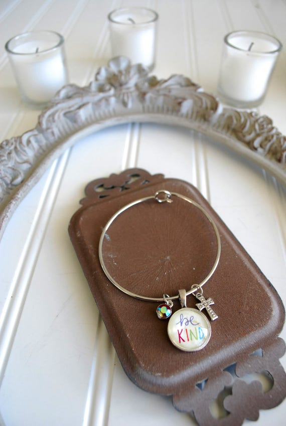 Be Kind Cabochon Bangle Charm Bracelet * Catholic Christian Inspirational Jewelry * Gifts for Her * Easter Confirmation Birthday Gift