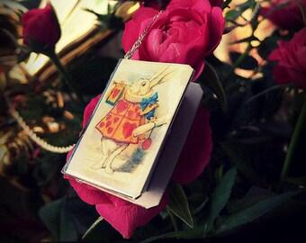 Alice in Wonderland rabbit\ Little book necklace